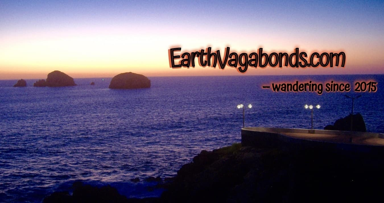 earthvagabonds.com logo over the sea at sunset, slow travel, budget travel, travel in retirement, sunset in mazatlan, mexico