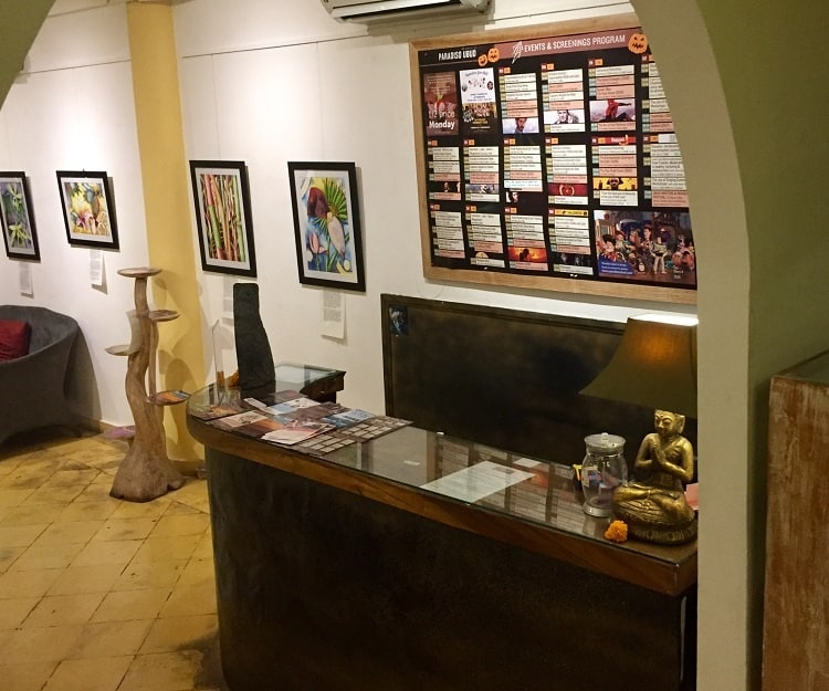 where you buy tickets to the movies in ubud inside an art gallery