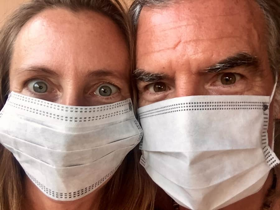 two people wear masks for pollution in southeast asia