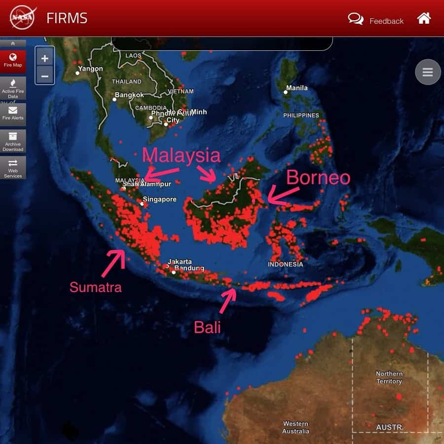 a NASA image that shows where the world is burning with malaysia, borneo, indonesia labeled
