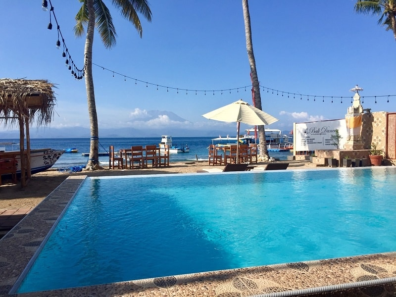 The pool and view at Bali Dancer on Nusa Penida after our Bali trip.