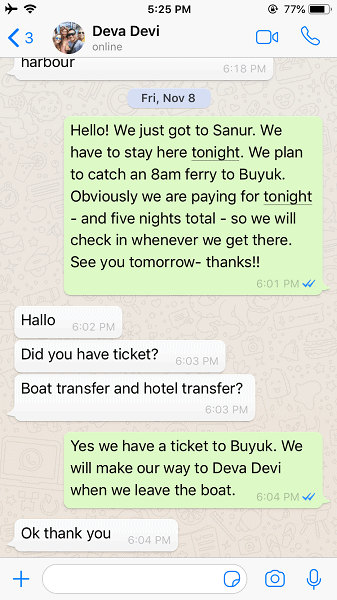 A screen shot of the hotel booking issue described in the story - where the 'hotel' says ok, thanks