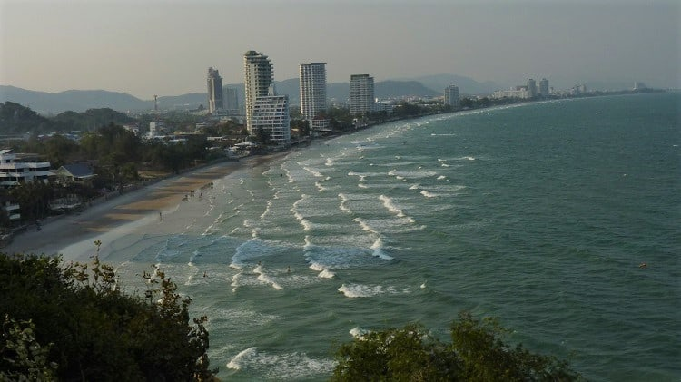 visa policies in southeast asia allowed us to stay longer in hua hin, thailand, pictured here from a hill.