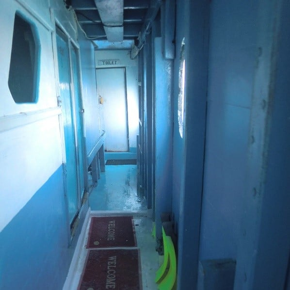 hallway inside komodo dragon tour boat