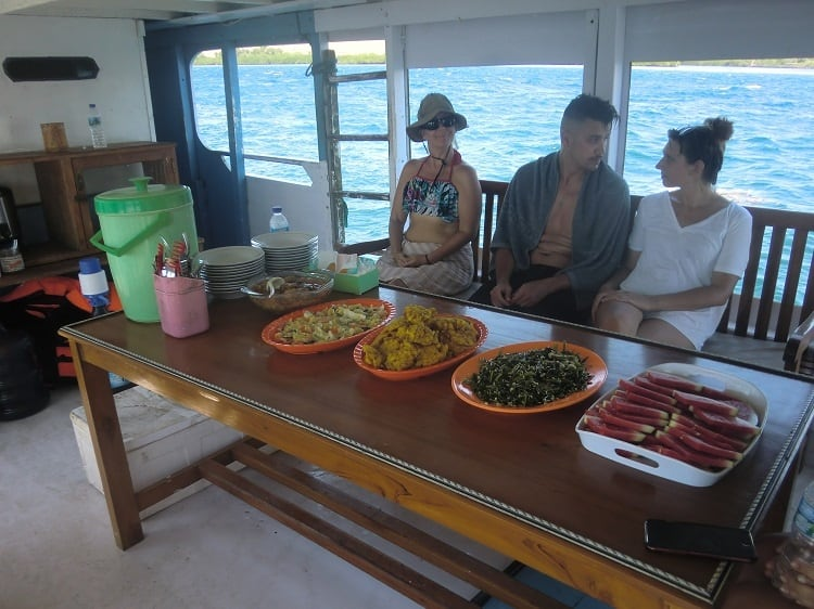 dining area on a cheap komodo dragon tour boat