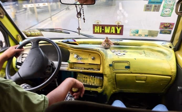 the inside of a jeepney in Cebu, named 'the most typical place in the world' by a columnist