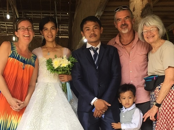 Bride, groom, and the author and his wife and mom, at the group wedding in Cebu