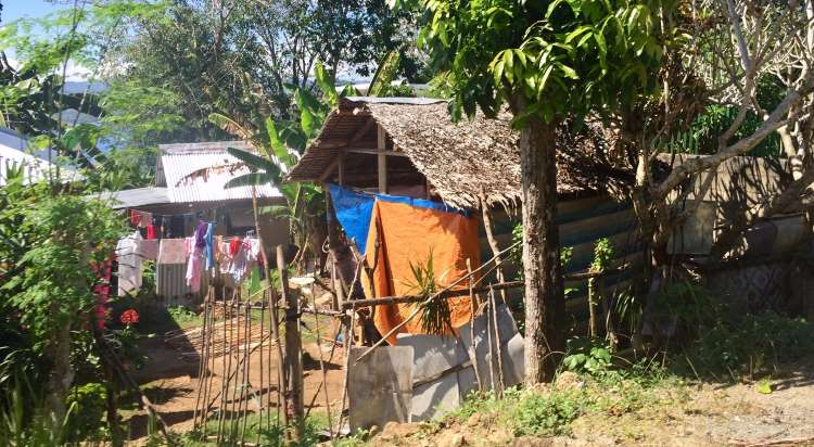 a typical home in the Philippines, made of wood and sticks and a thatched roof with laundry drying outside on a clothes line