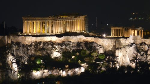 Athens at night is pictured - one of the best places to retire on social security in Europe.