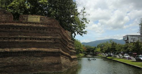 View of the old walled section in Chiang Mai, Thailand.