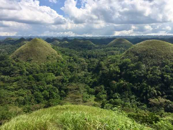 "View from atop one of the ""Chocolate Hills"" on Bohol Island in the Philippines."