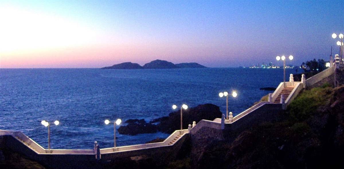 mazatlan's famous three rocks at sunset on southern-most part of the malecon