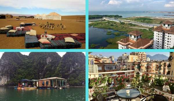 examples of rentals in retirement: Sahara Desert camp, Malacca City, Malaysia, floating house in Vietnam, and a garden terrace pictured in Albania.