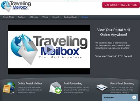 traveling mailbox is a virtual mailbox while traveling -- this is their logo