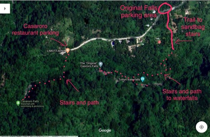 Map showing stairs, path to The Original Casaroro Falls.