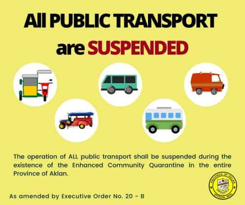poster by the province of aklan, philippines, announcing no more public transport from coronavirus
