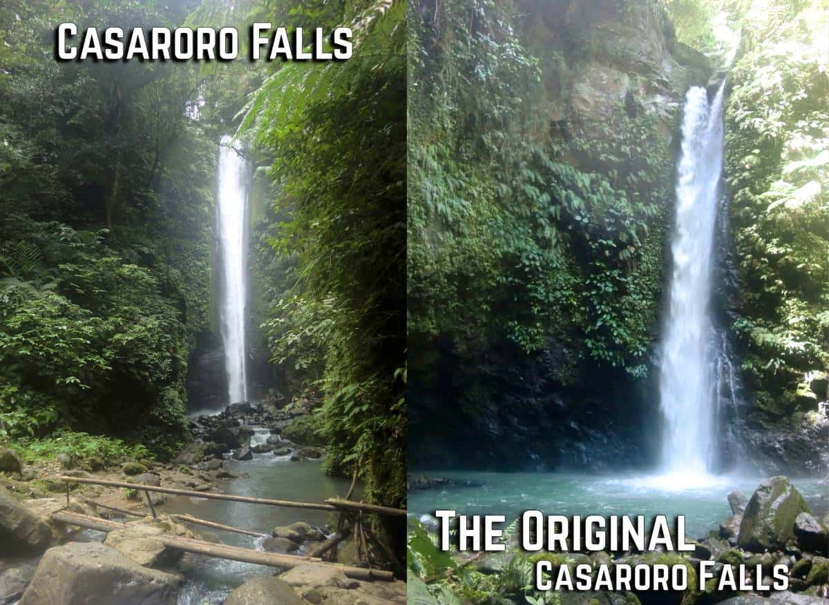 casarorro falls on the left, the original casaroro falls on the right