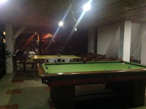 philippine quarantine day 5 - the pool table at the hangout beach resort in malay, on panay island