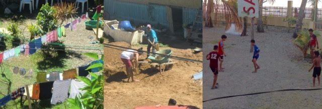 neighbor's laundry, neighbors digging, kids playing basketball on philippine quarantine day 9