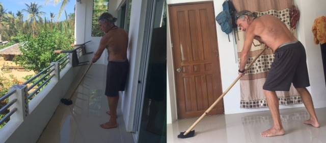 tedly mops the bedroom and balcony with makeshift mop during our philippine quarantine day 11