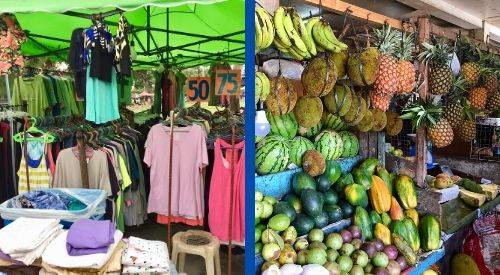 Goods from two different markets -- one from Valencia, one from Dumaguete.