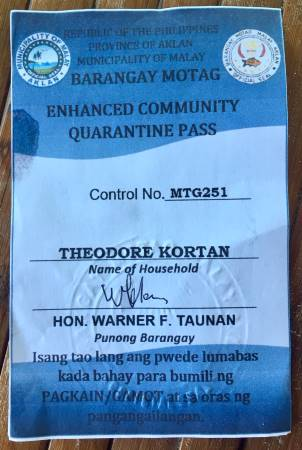 """enhanced community quarantine pass"" issued at the end of our philippine quarantine day 14"