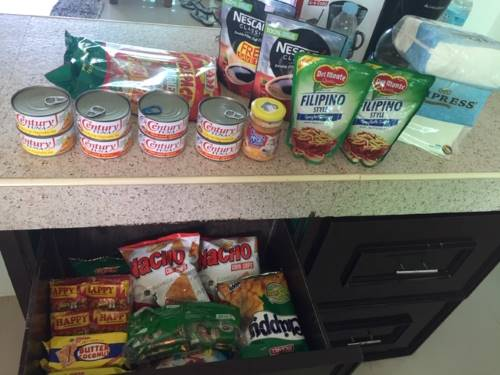 supplies of chips, crackers, coffee, pasta, sauce