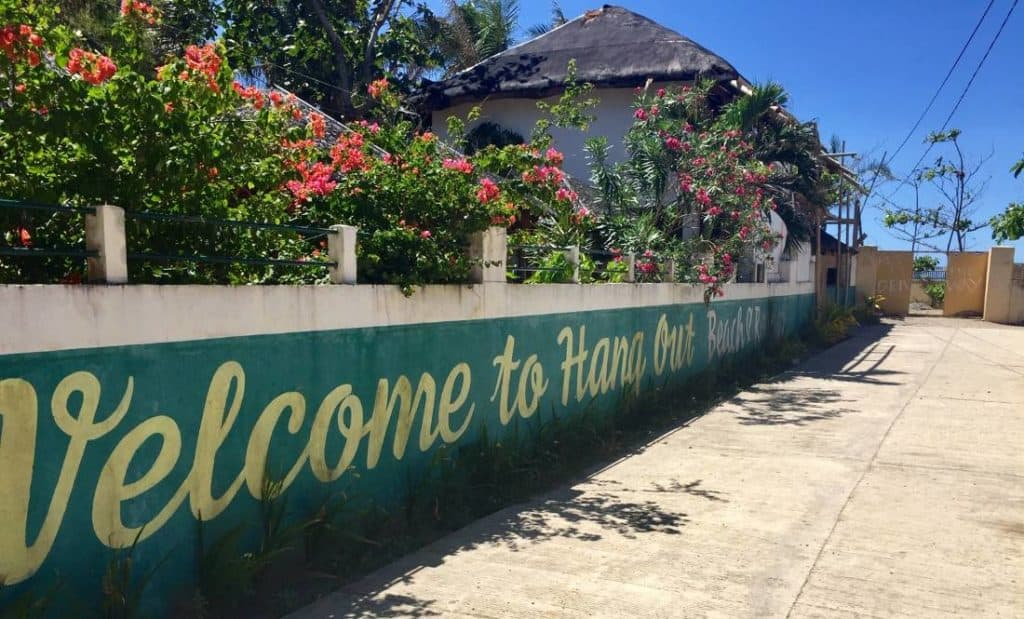 Hangout Beach Resort entrance in Motag, Malay, Philippines.