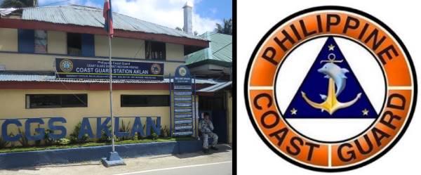 Philippine coast guard station left, coast guard logo right.