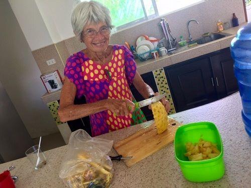 lazy lockdown Sunday - mom Diane cuts fruit