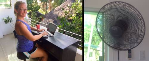 ellen at the new desk, a wall fan, on a Sunday during a pandemic in the Philippines