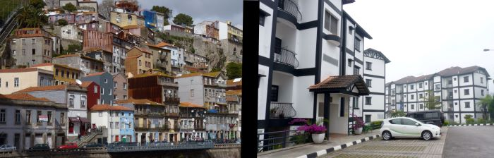Lisbon's Alfada neighborhood left, Cameron Highlands rental complex right