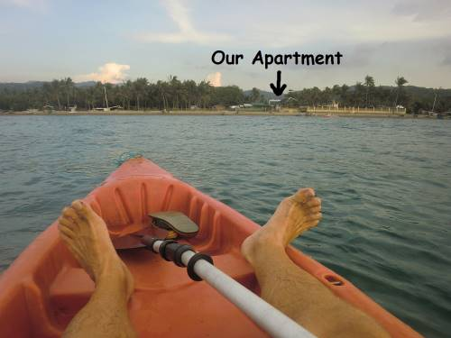 our apartment as seen from out on the water during tedly's kayak ride
