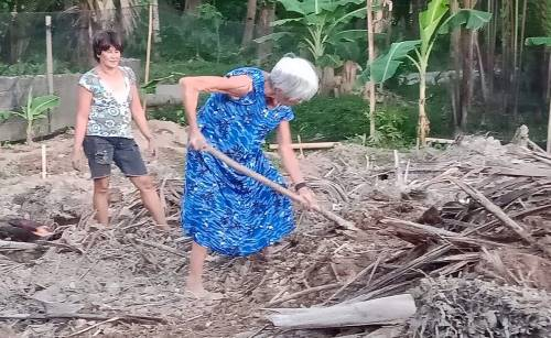 mom diane gardening with a shovel on 'lockdown day 3' in the philippines
