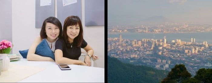 Sharon and Wendy left, Penang skyline right