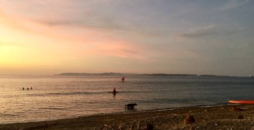 Simple life on lockdown - sunset swim with people and one dog, toy sailboat in the background.