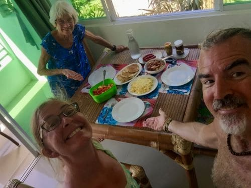 Table with food, Mom Diane, Tedly, Ellen, on Mother's Day on COVID-19 lockdown