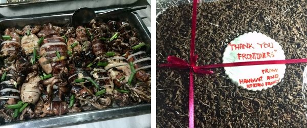dinner party - squid dish on the left, chocolate cake on the right