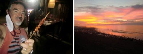 tedly eats chicken intestines on a skewer on the left, sunset on the right on Memorial Day in the Philippines