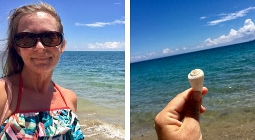 left, a beach selfie, right, a shell and the sea