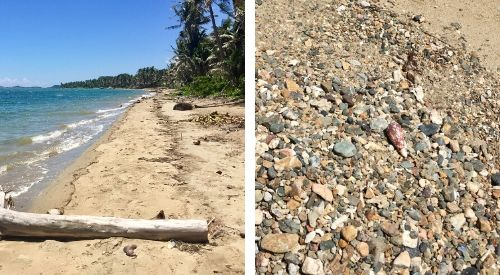 left, deserted beach; right, rocks and shells and coral bits