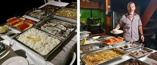 dinner party buffet spread on the left, tedly at the buffet on the right