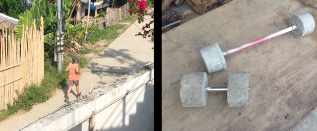 Ultimate Earth Vagabond diet: tedly jogs on the left, picture of homemade weights on the right
