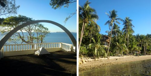 left, seaside cemetery; right, deserted waterfront