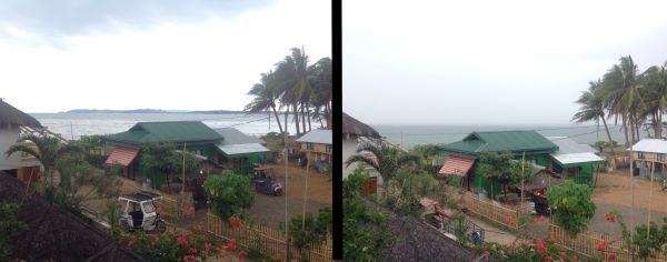 quarantine normalization - two views of a cloudy sky in the motag neighborhbood of malay, aklan