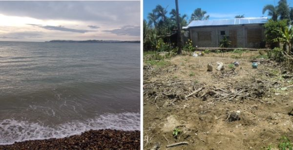 on the left, high tide, on the right, the salvaged garden