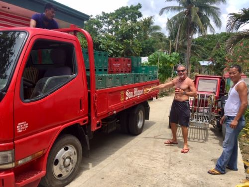 beer truck outside the hangout beach resort in malay, aklan, philippines