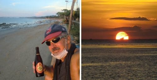 left, tedly has a beer during his deserted beach exploration; right, sunset
