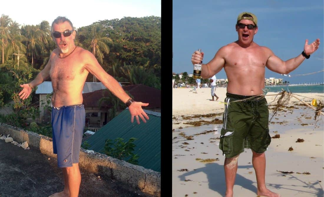Tedly today, left; Tedly 10 years ago, right: Ultimate Earth Vagabond diet on pandemic lockdown