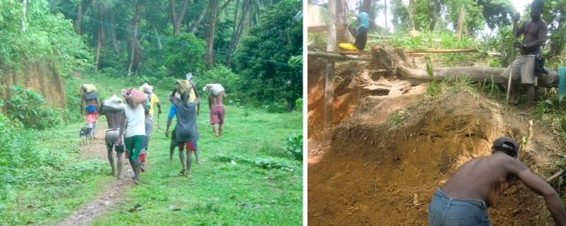 Ati workers carry bags of construction sand on their backs, left; Ati worker digging at site of new chicken coop, right.
